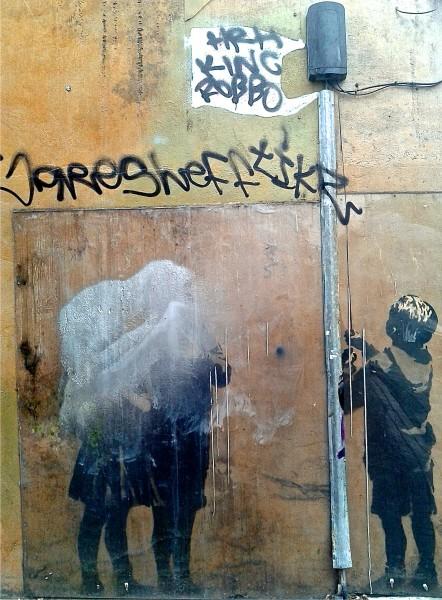 <Tesco Bag Flag Tesco Generation> by Banksy, Angel, Islington area of London