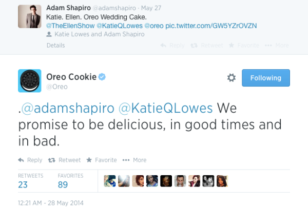 Oreo responds to its fan's tweet.
