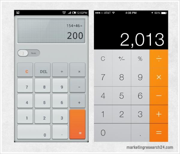 Calculator - MI3 vs iOS7